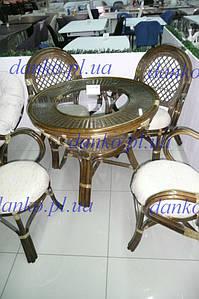 Плетенный обеденный стол 0209В натуральный ротанг + стекло D95*77 см