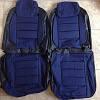 Чехлы сидений ВАЗ 2108 Пилот комплект кожзаменитель черный и ткань синяя , фото 4