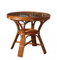Плетенный обеденный стол 0209А натуральный ротанг + стекло D83*77 см коньяк
