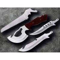 Набор туристический X-4 (4 в 1) топор, пила, ножи (деревянная рукоять) MHR /38-7