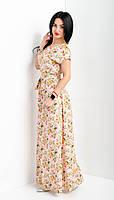 Женское летнее платье в пол розового цвета большого размера, фото 1