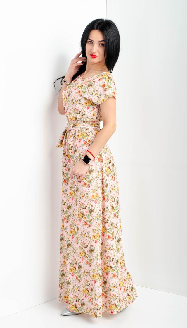 Женское летнее платье в пол розового цвета большого размера