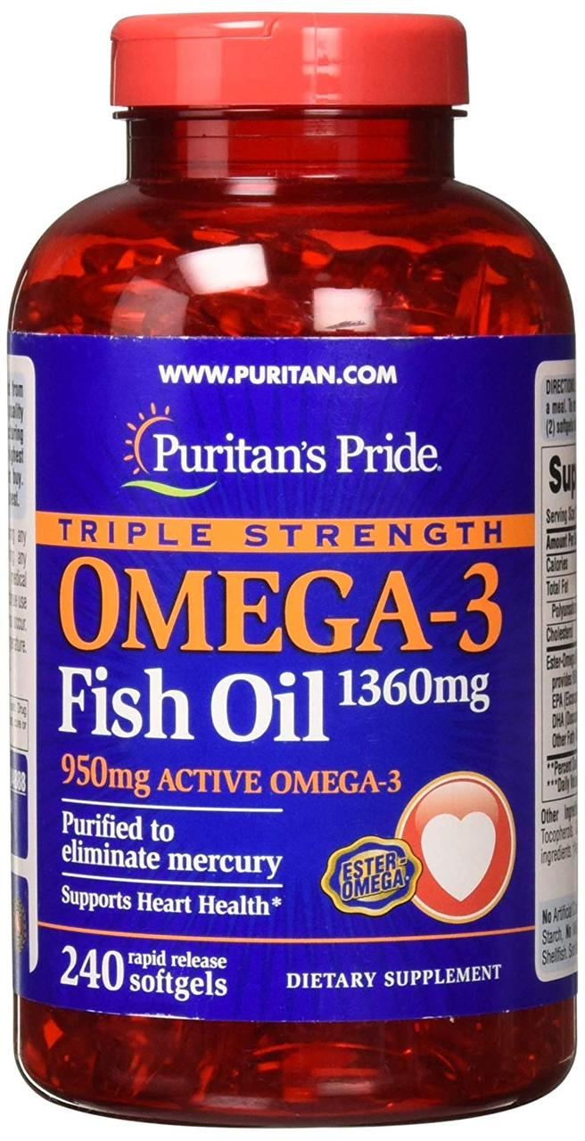 Puritan's Pride Omega-3 Fish Oil 1360 mg triple strength, 240 капсул
