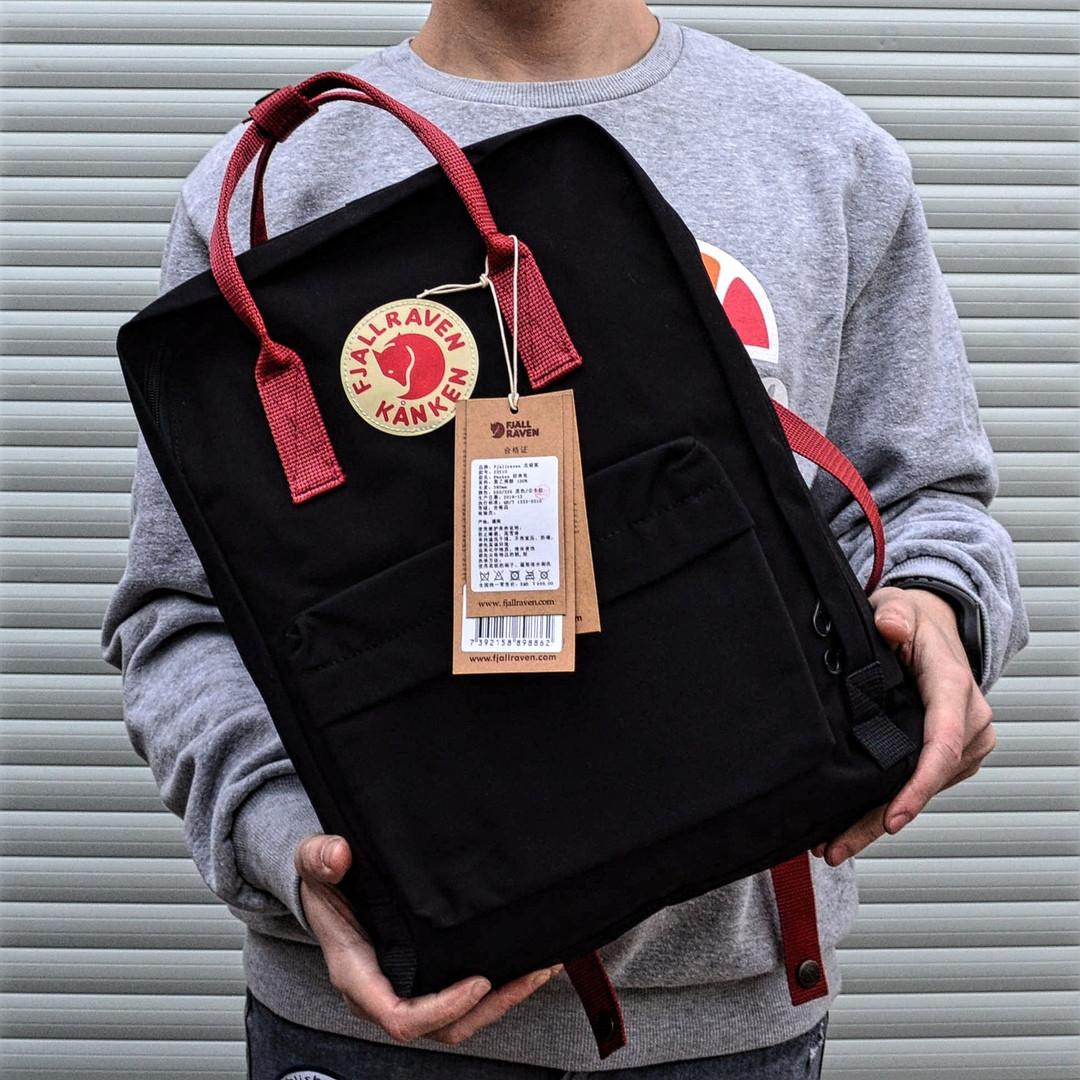Рюкзак в стиле Fjallraven Kanken classic черный с красными ручками