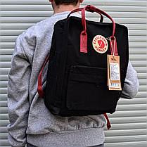 Рюкзак в стиле Fjallraven Kanken classic черный с красными ручками, фото 3
