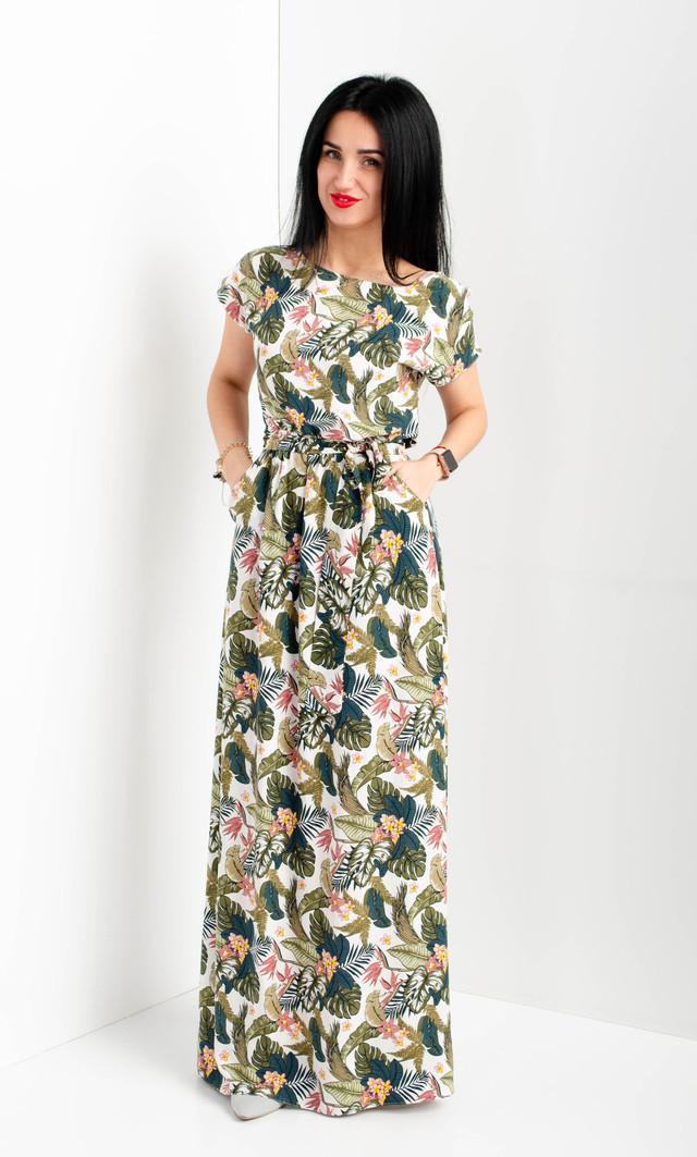 Красивое летнее платье в пол полотно - штапель.
