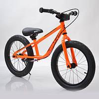 "Детский беговел с ручным тормозом 16""(BRN)B-2 Orange Air wheels, фото 1"