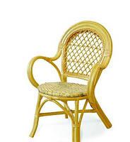 Кресло 0411 из натурального ротанга с плетеным сиденьем