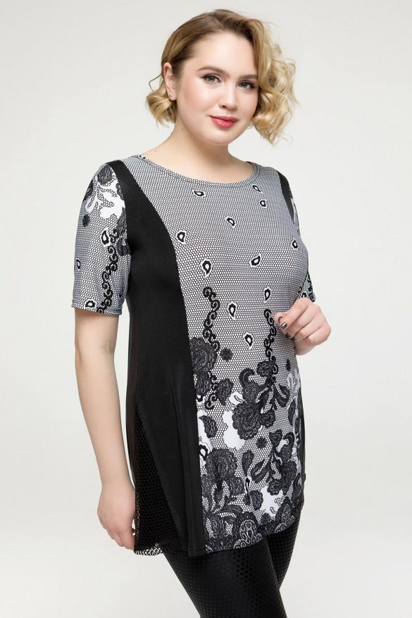 Женская блузка Цвет бирюза, серый Большой размер  54-64