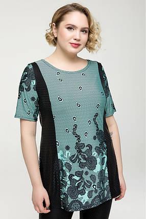 Женская блузка Цвет бирюза, серый Большой размер  54-64, фото 2