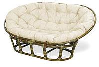 Плетеное кресло-софа Мамасан из натурального ротанга с мягкой подушкой
