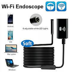 Видеоскоп. Wi-Fi Эндоскоп c HD камерой:720P  Ø8 мм 1 метр + зеркало для просмотра под углом, магнит. Бороскоп