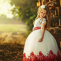 Белое платье с  бархатным кружевом ВАЛЕРИ 4-9 лет (7 цветов)