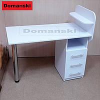 Маникюрный стол с ящиками и полкой для лаков. Прямая столешница.
