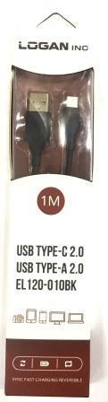 05-10-117. Шнур USB штекер А - штекер USB type C, Logan, 2.1A, черный, 1м