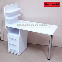 Маникюрный стол с ящиками и двумя полочками. Прямая столешница.