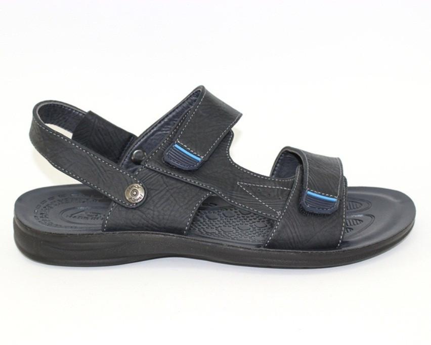 Мужские сандалеты черные, на застежках липучка