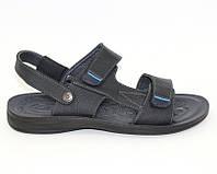 Мужские сандалеты черные, на застежках липучка, фото 1