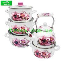 Набор эмалированной посуды  5/L Pink Орхидея