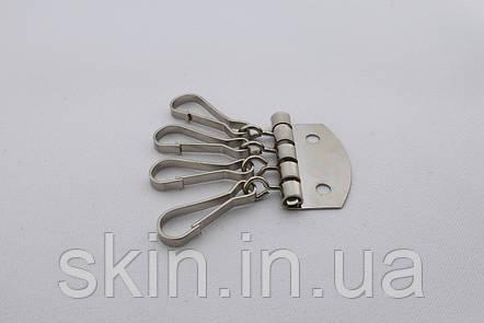 Ключница на 4 карабина, ширина 33 мм, цвет - никель, артикул СК 5400, фото 2