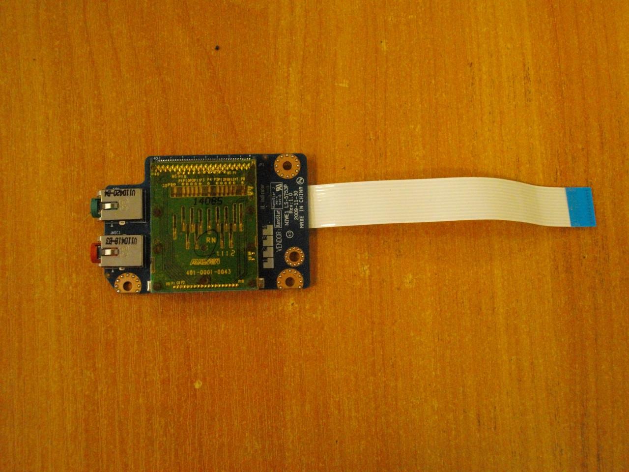 Плата LS-5753P аудио, звук, картридер Lenovo G565 бу