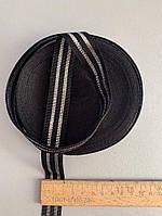 Лента чёрная с двумя белыми полосками, фото 1