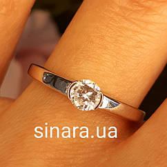 Кольцо из белого золота с одним камнем - Кольцо для предложения белое золото - Помолвочное кольцо золотое