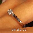 Кольцо из белого золота с одним камнем - Кольцо для предложения белое золото - Помолвочное кольцо золотое, фото 2
