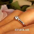 Кольцо из белого золота с одним камнем - Кольцо для предложения белое золото - Помолвочное кольцо золотое, фото 3