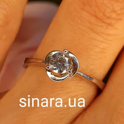 Обручку Троянда з білого золота з фианитом - Золоте кільце з 1 каменем - Кільце для пропозиції