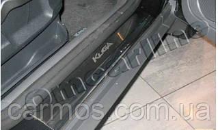 Накладки на пороги пластиковы салона (внутренние) Ford Kuga (форд куга) 2008-2012 с логотипом, нерж.