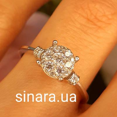 Кільце з білого золота з цирконієм - Золотий перстень на заручини - Кільце на пропозицію
