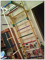 Детская спортивная стенка «Крепыш 1» [4 цвета] (спортивный инвентарь, товары, лестница, кольца, турник)