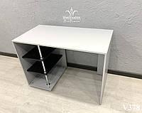 Маникюрный стол с открытыми полками на хромированной опоре. Модель V378 белый / черный, фото 1
