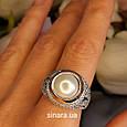 Серебряное кольцо с жемчугом и золотом - Кольцо с жемчугом серебро с золотом и фианитами, фото 4
