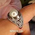 Серебряное кольцо с жемчугом и золотом - Кольцо с жемчугом серебро с золотом и фианитами, фото 3