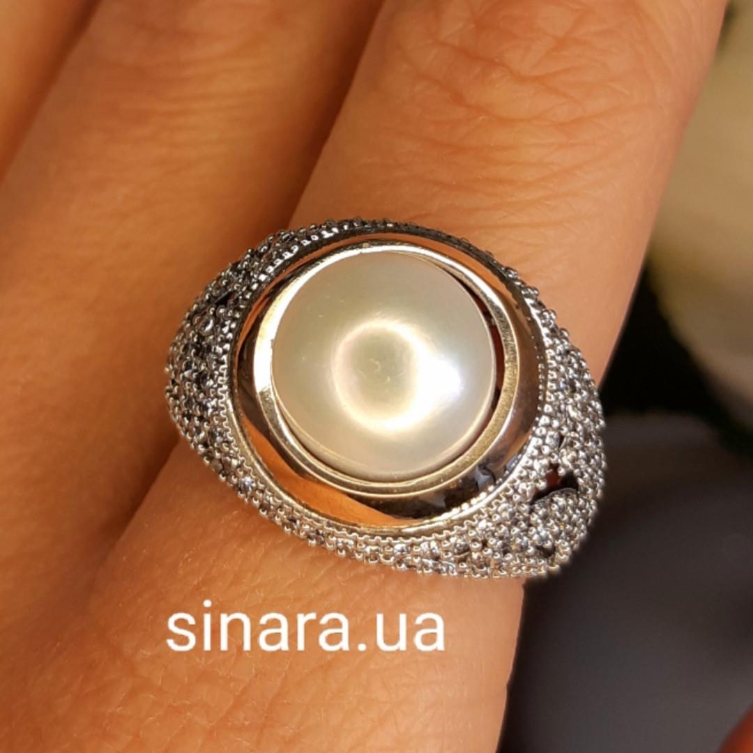 Серебряное кольцо с жемчугом и золотом - Кольцо с жемчугом серебро с золотом и фианитами
