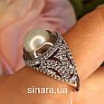 Серебряное кольцо с жемчугом и золотом - Кольцо с жемчугом серебро с золотом и фианитами, фото 2