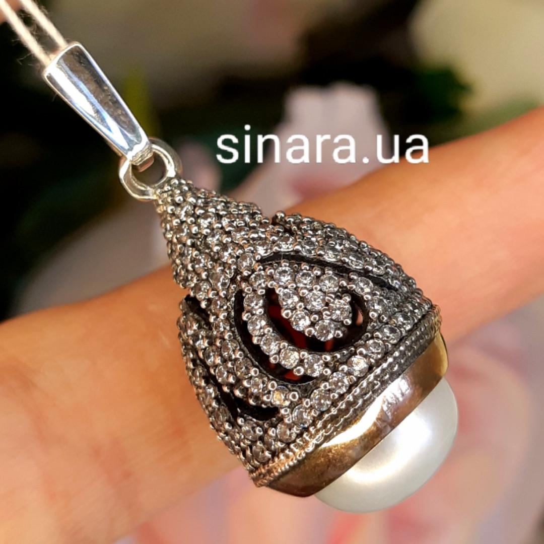 Серебряная кулон с жемчугом и золотом - Кулон с жемчугом серебро с золотом - Подвеска жемчужная серебряная