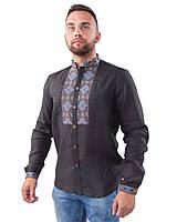 Черная вышитая мужская рубашка (в размере M - 3XL)