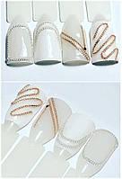 Декоративная металлическая цепочка для маникюра серебристая