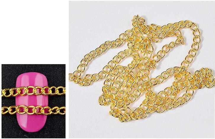 Декоративная металлическая цепочка для маникюра крупное золото