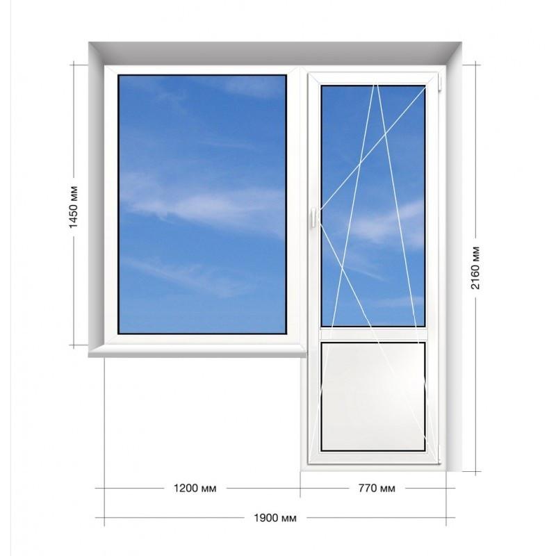 Балконный блок (ПВХ) Rehau Euro-60, 16-ти этажка. 1900х2160 Rehau Euro-60