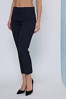 Укороченные женские брюки темно-синие деловые классические