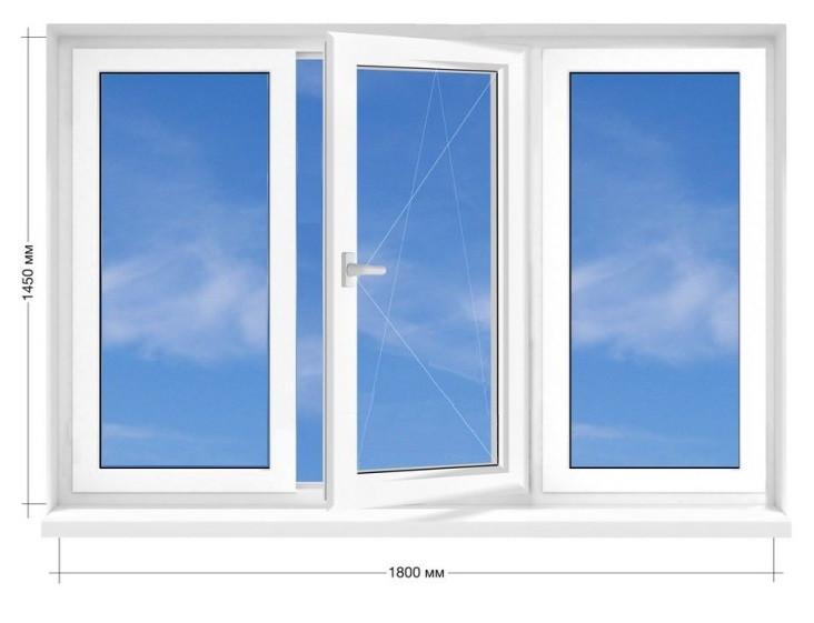 Окно пластиковое, энергосберегающее Rehau Euro-70, 16-ти этажка 1800х1450 мм