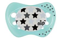 Пустышка  силиконовая   0-6 месяцев ночная NIP  Бегемотики/Звёздочки  (Германия) 2 шт, фото 1