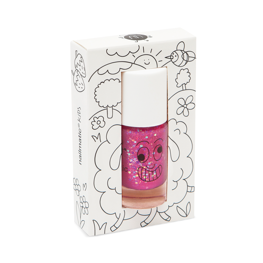 Детский лак для ногтей Nailmatic, цвет Glitter Raspberry (малиновый с блестками)