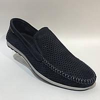 Мужские мокасины летние туфли кожаные Maxus / темно-синие