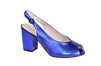 Ярко синие босоножки на каблуке Lady Marcia