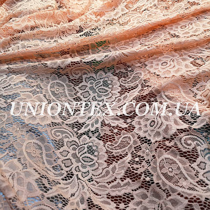 Ткань гипюр плотный стрейчевый персиковый, фото 2